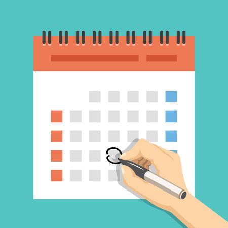 Mano con el calendario marca de la pluma. versión de los EEUU con la semana comenzó el domingo. ilustración vectorial plana