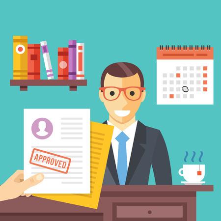 entrevista: Entrevista de trabajo. solicitud de empleo aprobado con sello en él. hombre feliz consiguió un trabajo