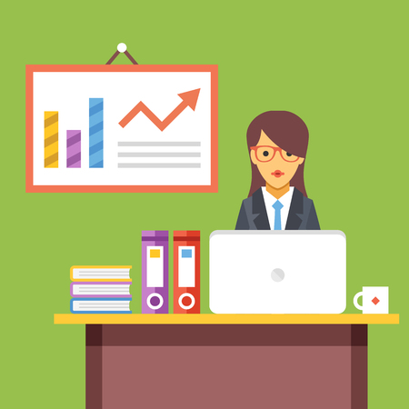 Office women: Office worker at work. Woman sitting at the desktop with laptop. Flat vector illustration