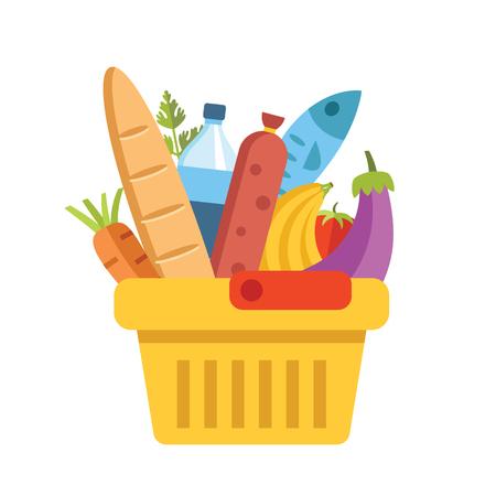 comida rica: canasta de supermercado con alimentos. ilustración vectorial de diseño moderno plano colorido