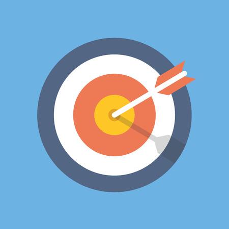 metas: Orientar icono de comercialización. Blanco con el símbolo de flecha. ilustración vectorial plana