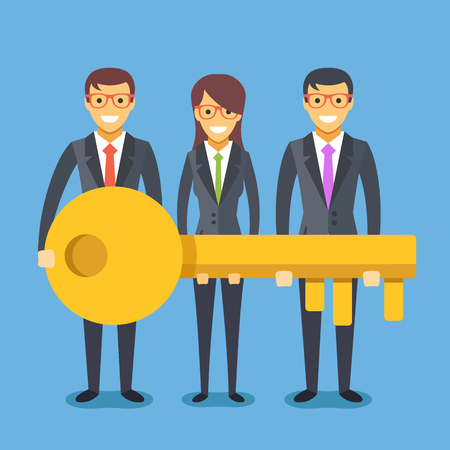golden key: People in suit with key. Successful teamwork concept. Flat vector illustration