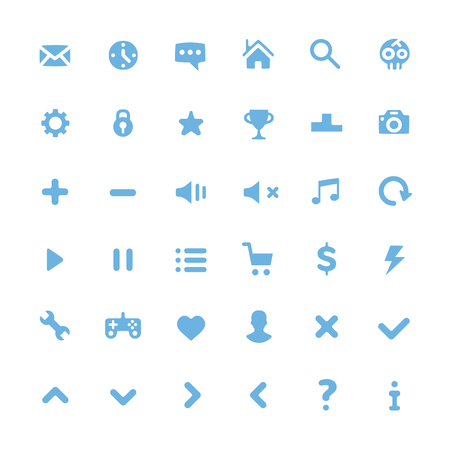 volume: Vector blue pictograms set. Modern flat icons set for web and mobile. Isolated on white background