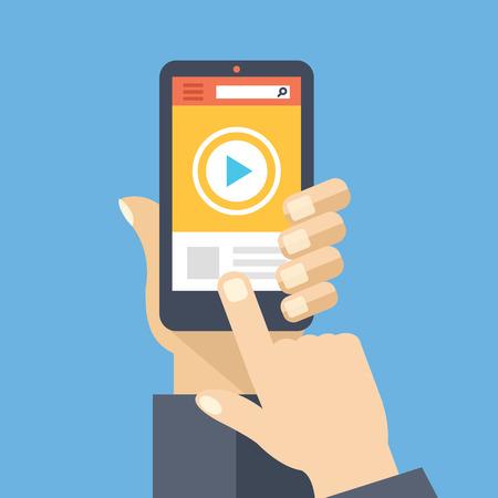 Video app sullo schermo dello smartphone. Guardare e condividere contenuti digitali. Design piatto illustrazione vettoriale