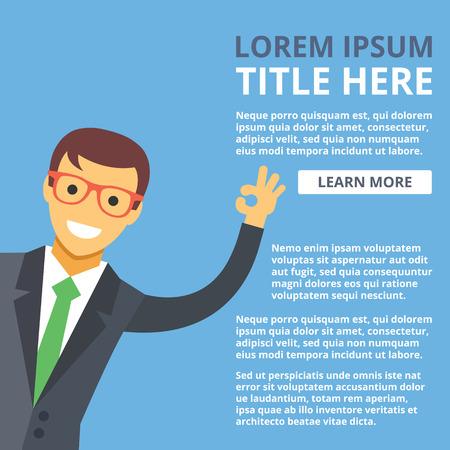 salesmen: Smiling businessman shows ok sign. Business banner template concept. High quality creative vector illustration Illustration