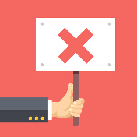 disagreement: Hands holds sign with cross. Disagreement, protest, complaint. Flat vector illustration