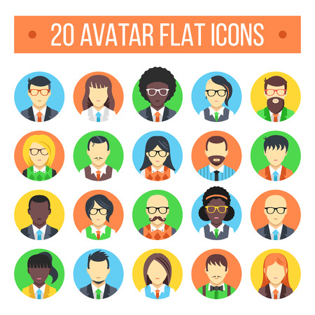 office icons: 20 avatar flat icons. Male and female faces Illustration