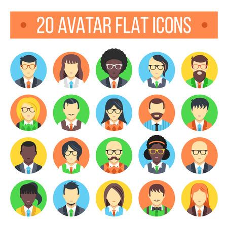 20 iconos planos avatar. rostros masculinos y femeninos