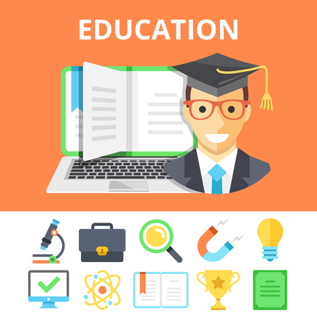 online education: Education flat illustration and colorful flat education icons set