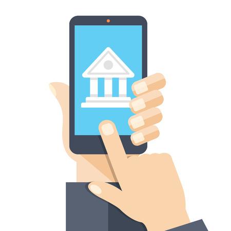 deposit: Bank app page on smartphone screen. Online bank account Illustration