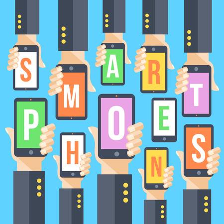 vector element: Hands and smartphones. Modern vector flat illustration