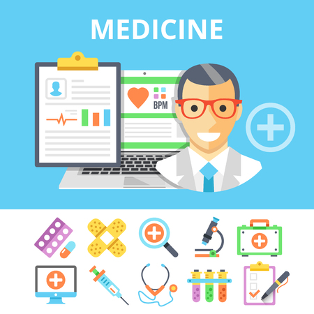 first form: Medicine flat illustration and colorful flat medical icons set
