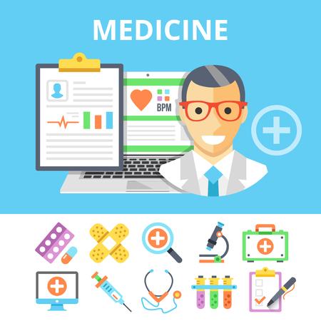 Medicine flat illustration and colorful flat medical icons set