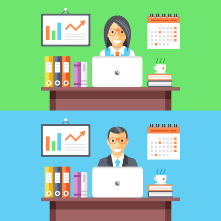 woman work: Office workers web banners. Man and woman employees at work. Vector flat illustration Illustration