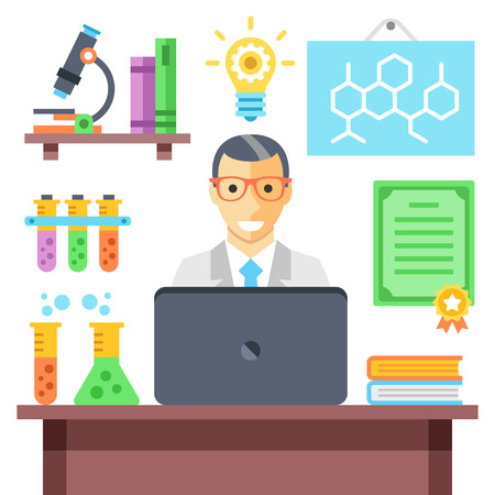 chain reaction: Scientist in chemistry laboratory at work. Modern flat vector illustration and flat icons set