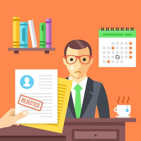 puesto de trabajo: Entrevista de trabajo. solicitud de empleo rechazado con un sello