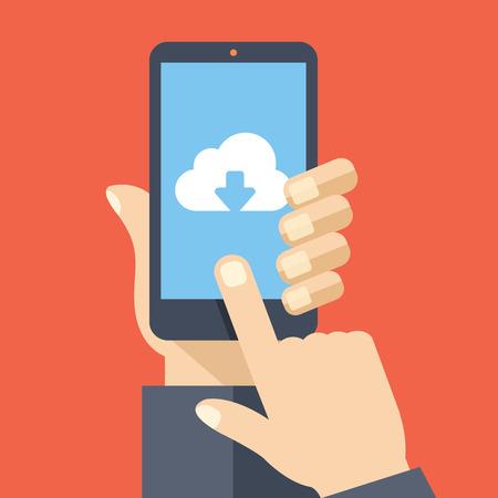 Cloud storage app on smartphone screen. Vector illustration