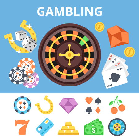casino chips: Gambling flat icons set and casino flat illustration. Vector illustration Illustration