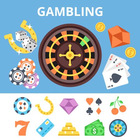 fichas casino: Los juegos de azar iconos planos establecidos y la ilustración plana casino. ilustración vectorial