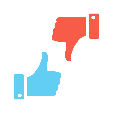 thumbs up gesture: Blue like red dislike. Vector icons