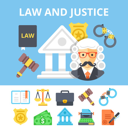 condemnation: Law and justice flat icons set and juvenile justice system flat illustration. Vector illustration Illustration