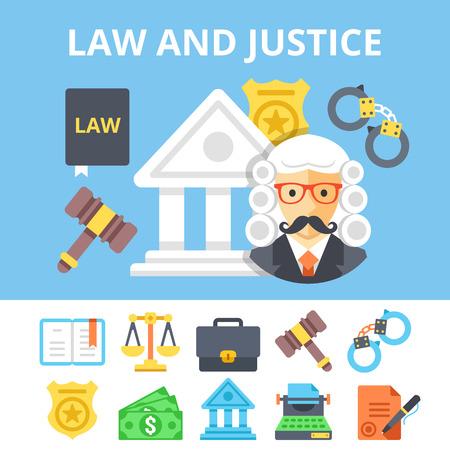 Wet en rechtvaardigheid plat pictogrammen instellen en jeugd rechtssysteem platte illustratie. Vector illustratie Vector Illustratie