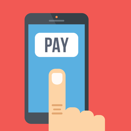 utility payments: Mobile payment. Flat design vector illustration