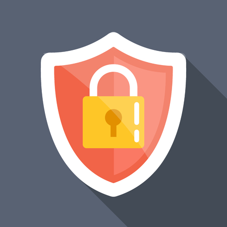 Security shield long shadow vector flat icon
