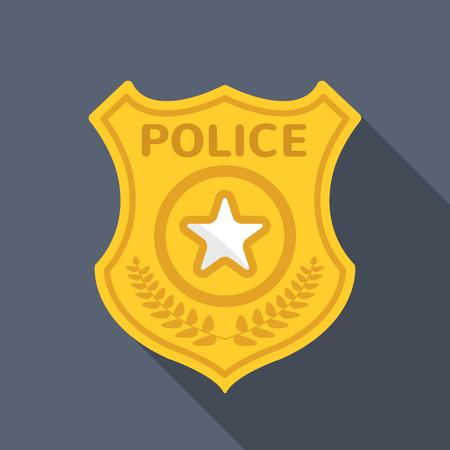경찰 배지 긴 그림자 벡터 평면 아이콘 벡터 (일러스트)