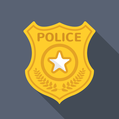 police cartoon: Police badge long shadow vector flat icon