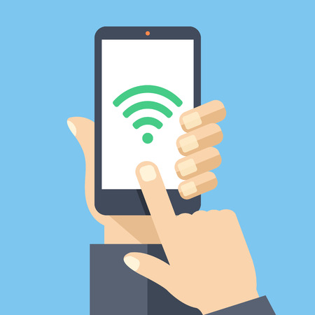 Wifi connection on smartphone screen. Flat design vector illustration Vector Illustration