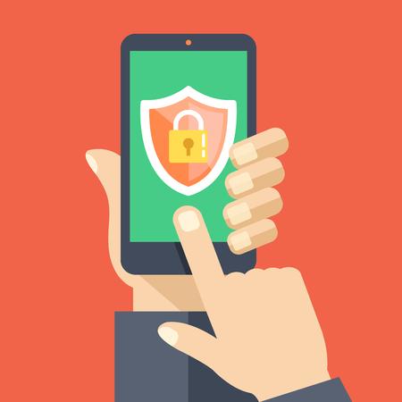Aplikacja mobilna zabezpieczeń na ekranie smartfona. Płaska konstrukcja ilustracji wektorowych
