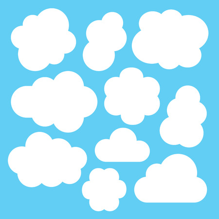 white clouds: Simple white clouds set. Vector illustration isolated on blue background