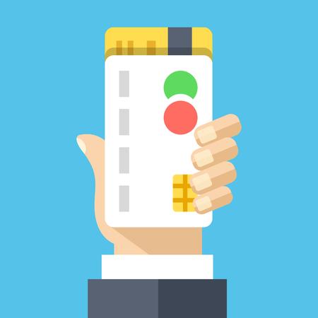 mastercard: Hand holds credit cards. Creative flat design vector illustration Illustration