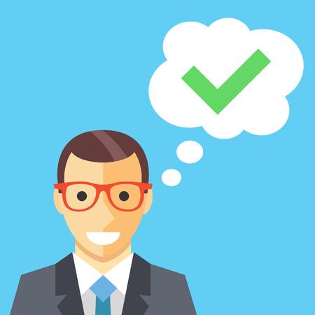 garrapata: Feliz el hombre y la burbuja de pensamiento con la ilustración plana marca de verificación
