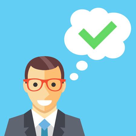 person: Happy man and thought bubble with checkmark flat illustration