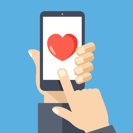happy phone: Heart on smartphone screen. Creative flat design vector illustration