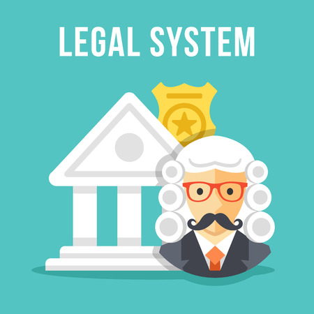 lawmaking: Legal system. Creative flat design vector illustration