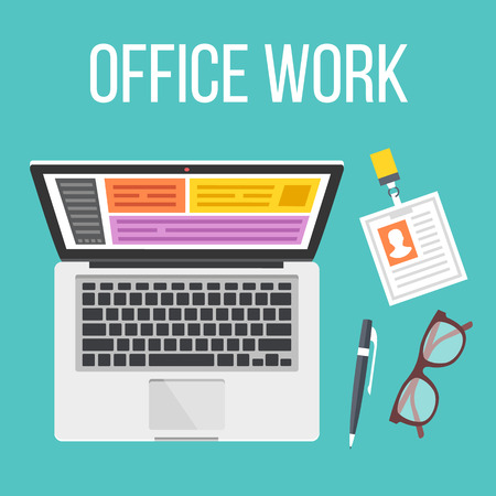 ide: Office work flat illustration. Top view. Creative vector illustration Illustration