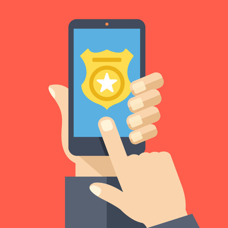 badge icon: Call police app on smartphone screen. Emergency call concept