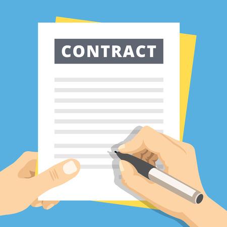 La firma de un contrato de ilustración plana. Mano con contrato de firmar la pluma