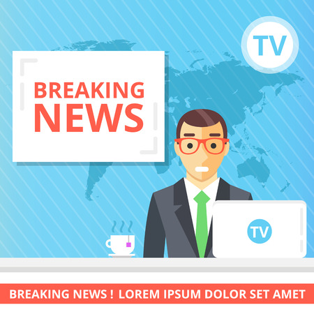 news event: Breaking news flat illustration concept. Newscaster in the television studio