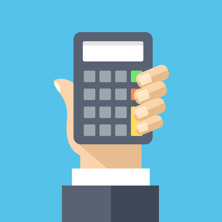 Hand holds calculator flat illustration. Accounting, finance, business earnings Stock Illustratie
