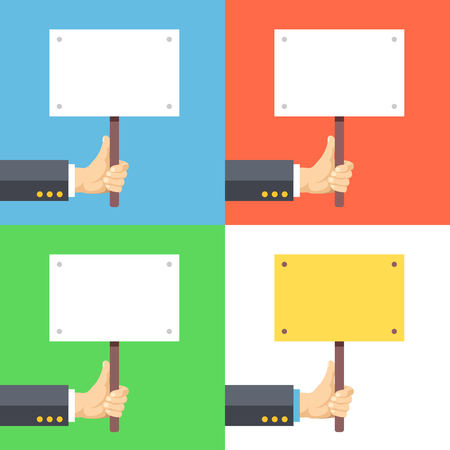 placards: Hands holding empty placards, billboards with space for text Illustration