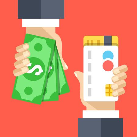 Mano con la tarjeta de crédito, la mano con la ilustración plana dinero en efectivo Ilustración de vector