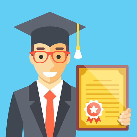 alumni: Graduated man with diploma in his hand. Flat illustration Illustration