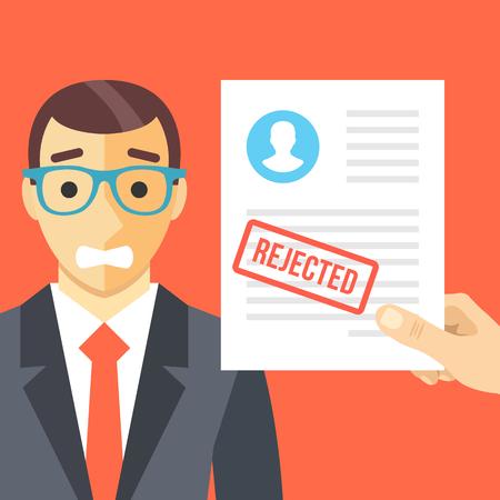 Hombre triste y formulario de solicitud rechazada plana concepto de ilustración