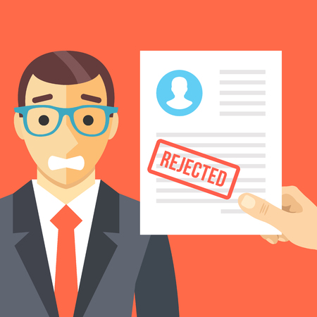 rejected: Sad man and rejected application form flat illustration concept
