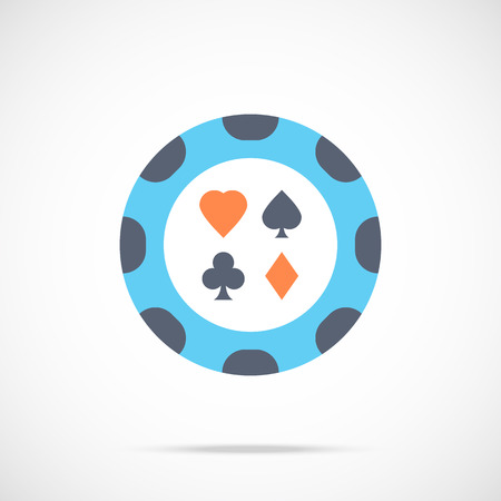 roulette online: Vector casino chip icon. Flat poker chip icon Illustration