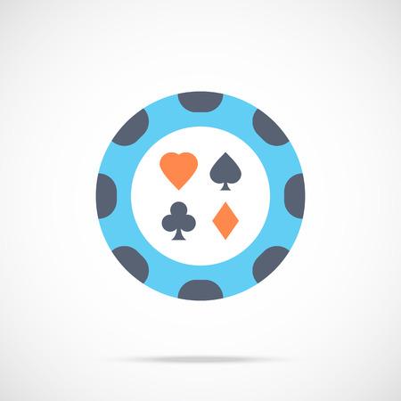 poker chip: Vector casino chip icon. Flat poker chip icon Illustration